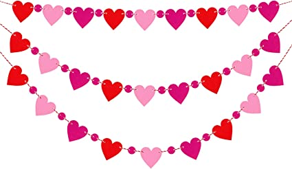 Amazon Com Aozer 3 Sets Valentine S Day Felt Heart Banners No