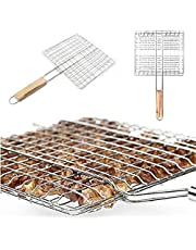 Niome Portable Wire Hamburg Barbecue Grilling Basket BBQ Net with Wooden Handle Meat Vegetable Holder