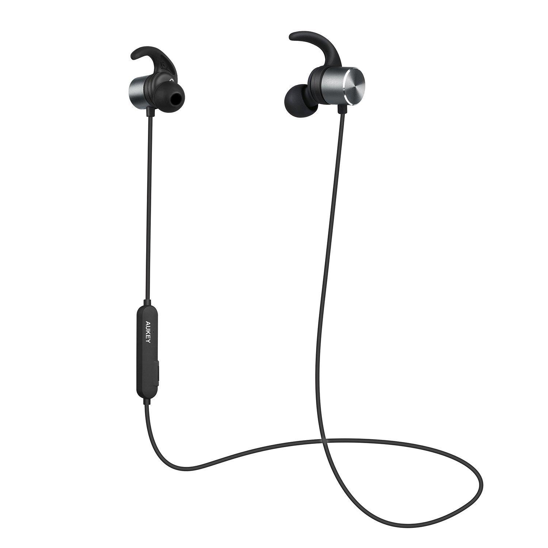 AUKEY Auricolari Bluetooth 4.1 Cuffie Wireless Sport 8 Ore di Tempo di Utilizzo con aptX e Microfono Incorporato, Resistente al Sudore, Magnetiche per Huawei, iPhone, Samsung, e altri Dispositivi