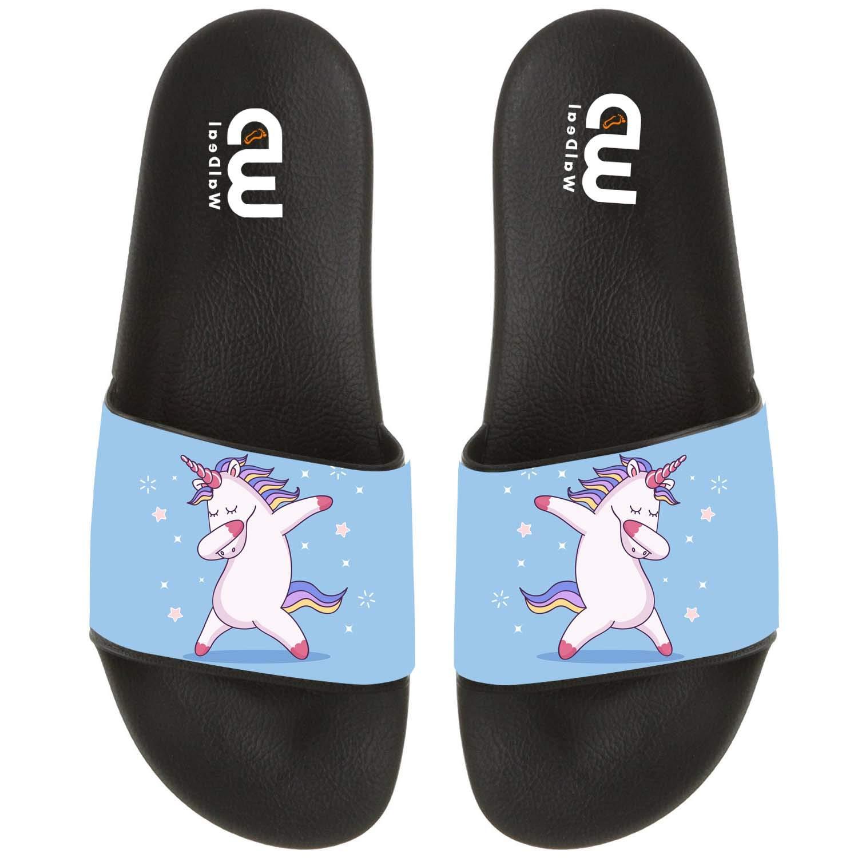 Cute Dabbing Unicorn Summer Slide Slippers For Men Women Kid Indoor Open-Toe Sandal Shoes