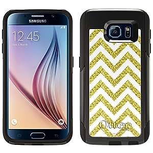 Skin Decal for Otterbox Commuter Samsung Galaxy S6 Case - Chevron Glitter Gold White