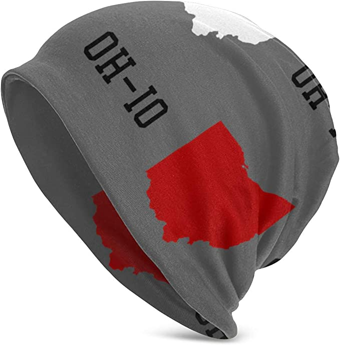 Slouchy Ohio state beanie with red and white state map