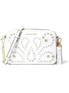 c5efb9c4412 MICHAEL Michael Kors Ginny Medium Embellished Leather Crossbody Bag - Optic  White