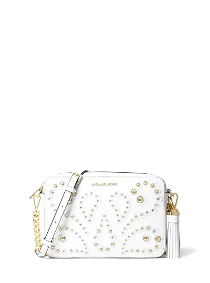 2fbeb99987a3 MICHAEL Michael Kors Ginny Medium Embellished Leather Crossbody Bag - Optic  White: Amazon.co.uk: Shoes & Bags