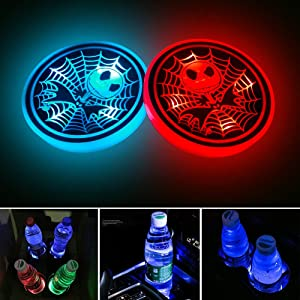 2Pcs-Nightmare Before Christmas Jack Skellington LED Car Cup Holder Lights, Luminescent Cup Pad Interior Atmosphere Lamp Interior Car Lights,with 7 Colors Changing USB Charging Mat, for Various Car