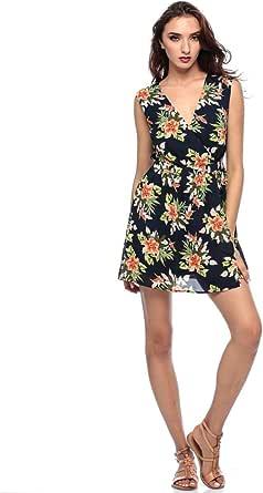 Madam Rage Womens Orange Flower Dress Skater Sleeveless V Neck Clothing 8