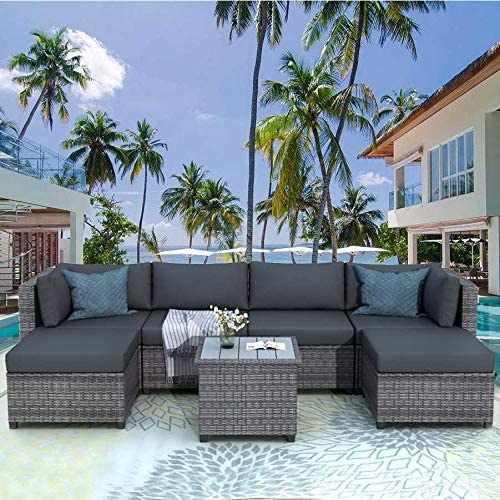 118.7 L-PE Rattan Wicker Sofa Set Outdoor Patio Furniture Sectional Conversation Set 7 Pcs with Thicken Cushions,Tempered Glass Coffe Tabletop for Garden Lawn and Backyard Pool Gray-7 Pcs