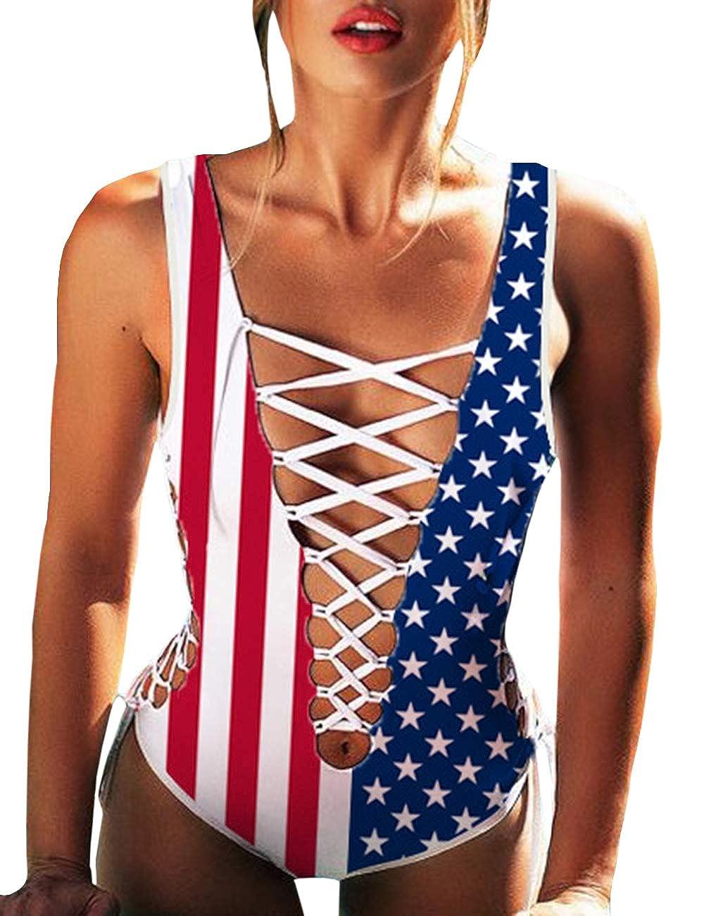 XXXITICAT Women Girls Sexy American Flag Print Bathing Suits One Piece Swimwear Swimsuits Bikini