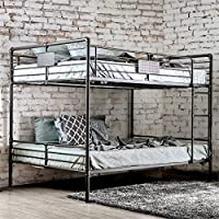 Furniture of America Bryon Queen Over Queen Bunk Bed in Antique Black