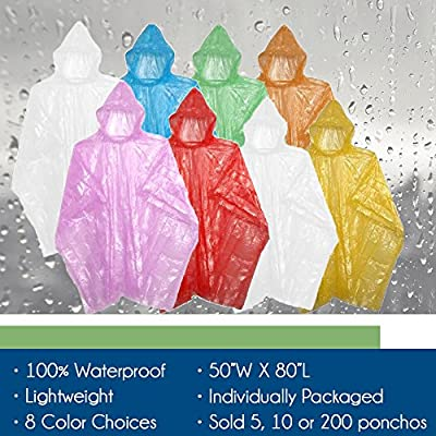 Emergency Disposable Rain Ponchos Various Colors - 5, 10, 30, or 200 Pack from Sara Glove