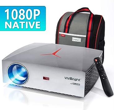 VIVIBRIGHT f40 Native 1080P Projector, 4200White LED Light 300