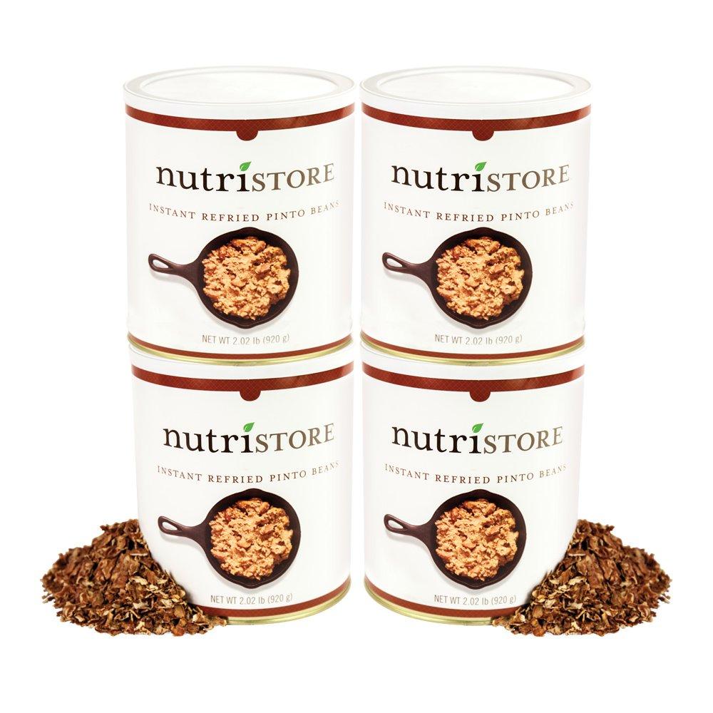 Instant Refried Pinto Bean Flakes by Nutristore | Pack of 4 | 160 Total Servings | Easy to Prepare | Survival Food | Amazing Taste