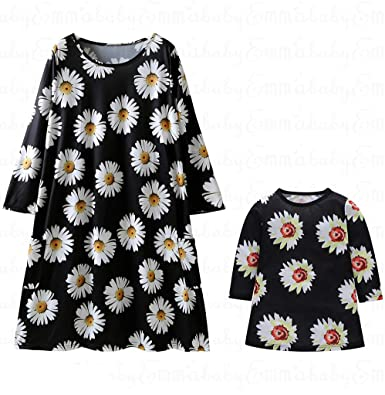 2f3b8f5c5e Amazon.com: Emmababy Mommy and Me Dresses Mom Baby Parent-Child Sunflowers  Outfit Long Sleeve Girls Family Matching Clothes: Clothing
