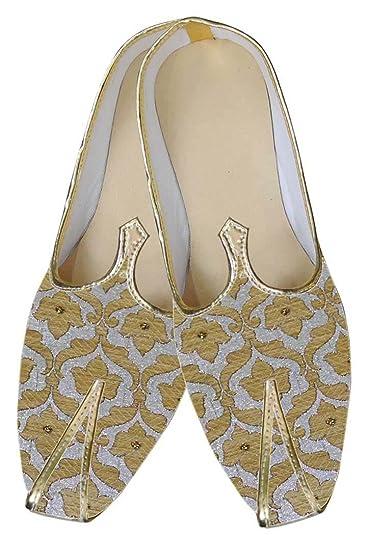 Mens Silver Brocade Wedding Shoes Golden Floral MJ0043