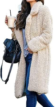 BOZEVON Coats for Women - Winter Popular Soft Warm Open Front Jacket Coat Long Outerwear Faux Fur Casual Cardigan Coat