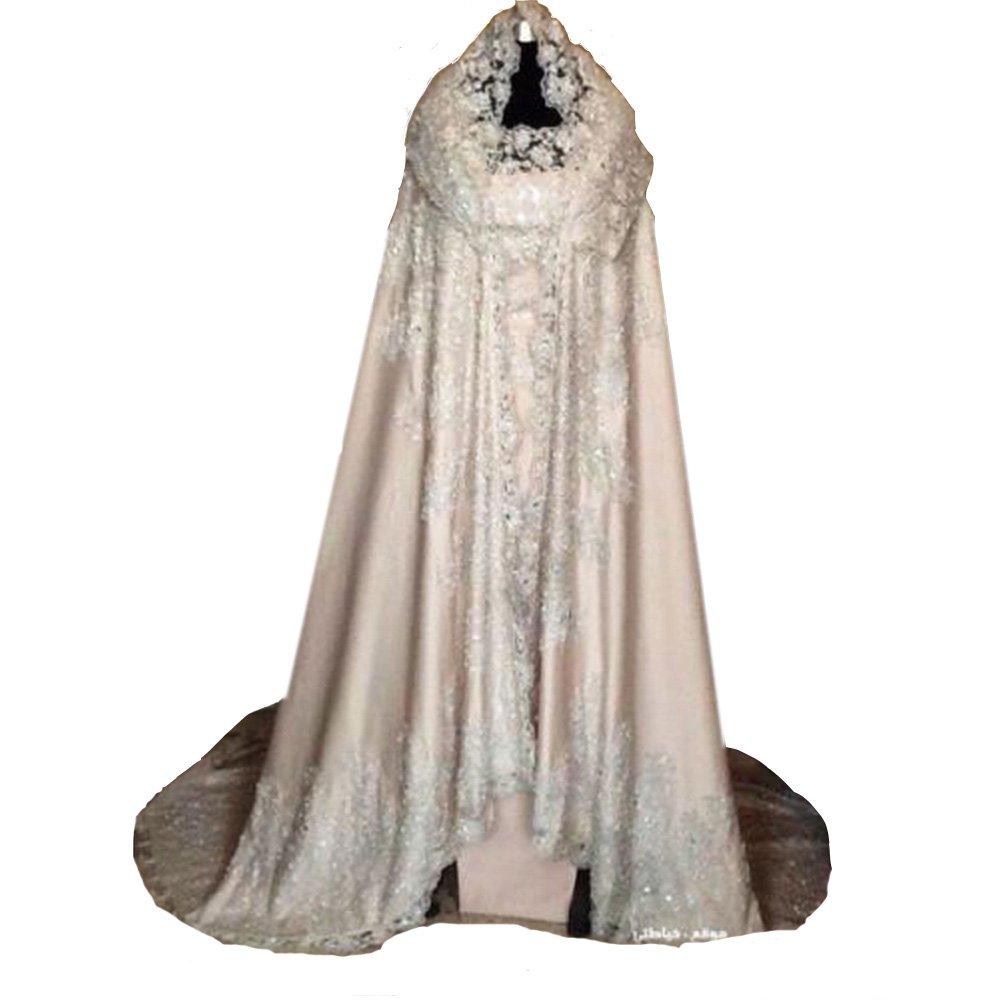 Lavendel Bridal Elegant Women's Satin And Sequins Appliques Bridal Cape Fashion Court Train Wedding Cloak (XL, White)