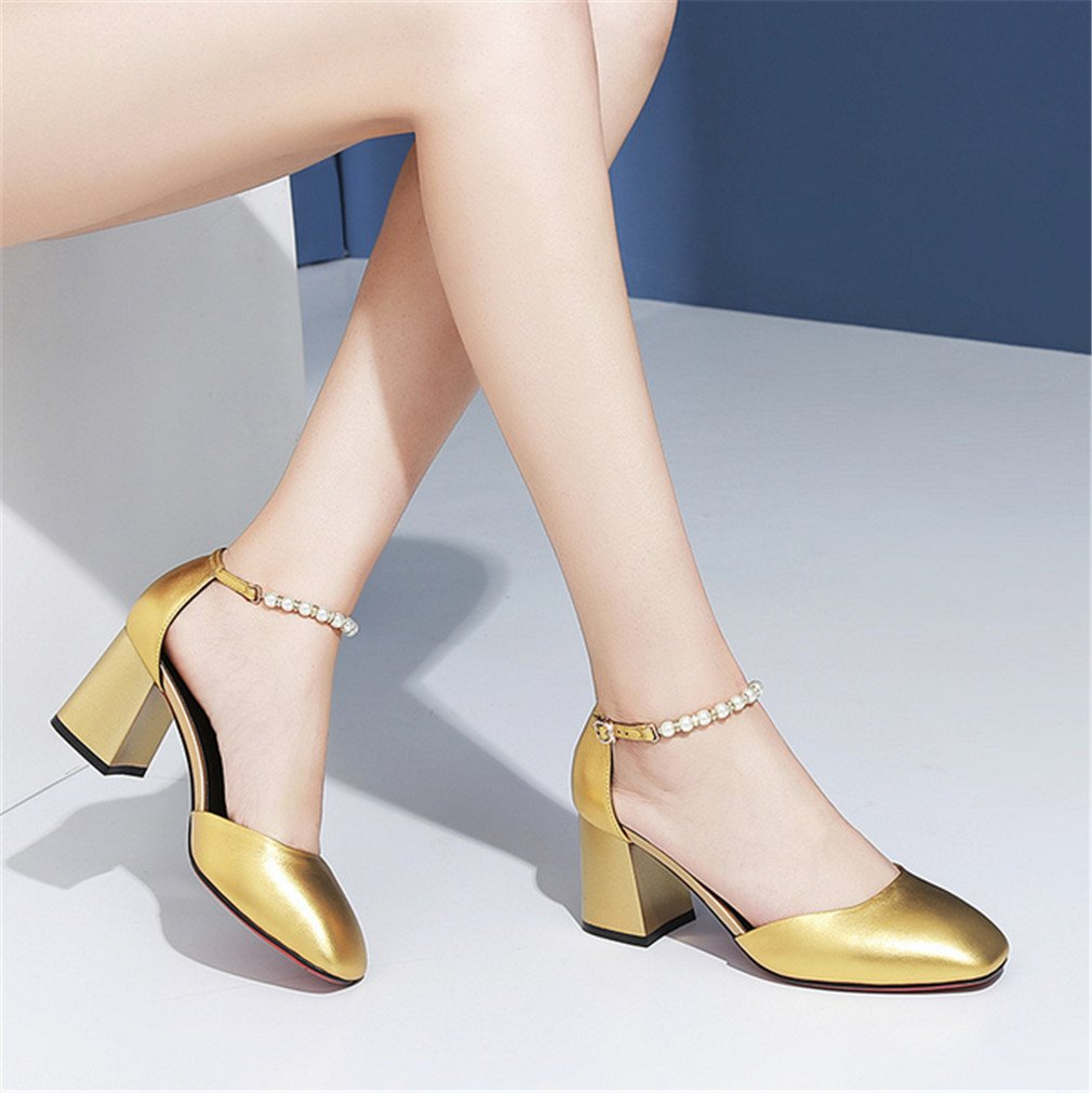 BIANJESUS Sandalen Square Head Frauen mit Perlen High Heels One-Button Buckle Hohlen Frauen Head Fashion Wild Jugend Mittelalter Gold EU36 991812
