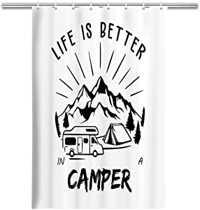 MERCHR Camper Shower Curtain, Funny Quotes Life is Better in A Camper Mountain Forest Camping Tent Decor Rv Shower Curtain, Shorter and Narrow Odorless Fabric Curtains 47 X 64 Inch, Black White