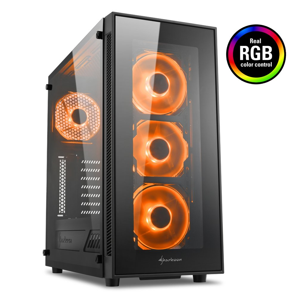 Semitorre ATX PC Gaming Caja de Ordenador Sharkoon TG4 RGB Negro
