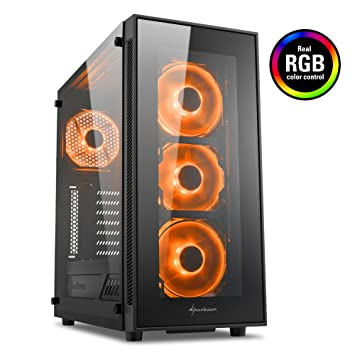 Sharkoon TG5 RGB - Caja de Ordenador, PC Gaming, Semitorre ATX, Negro