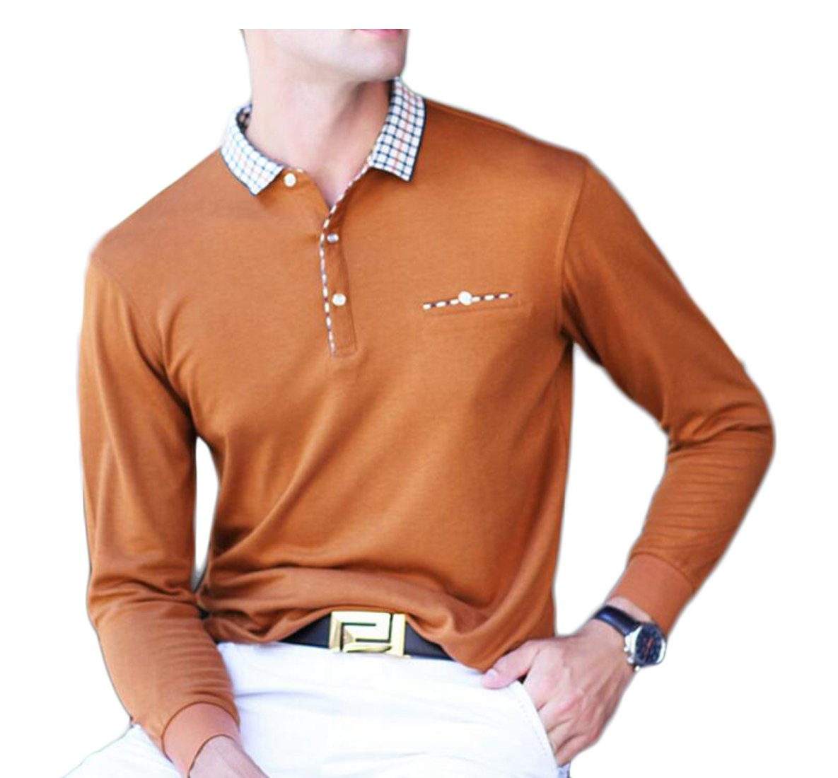 Generic Men's Loose Cotton Plus Size Lapel Long-Sleeves Sweater with Pocket 5 S