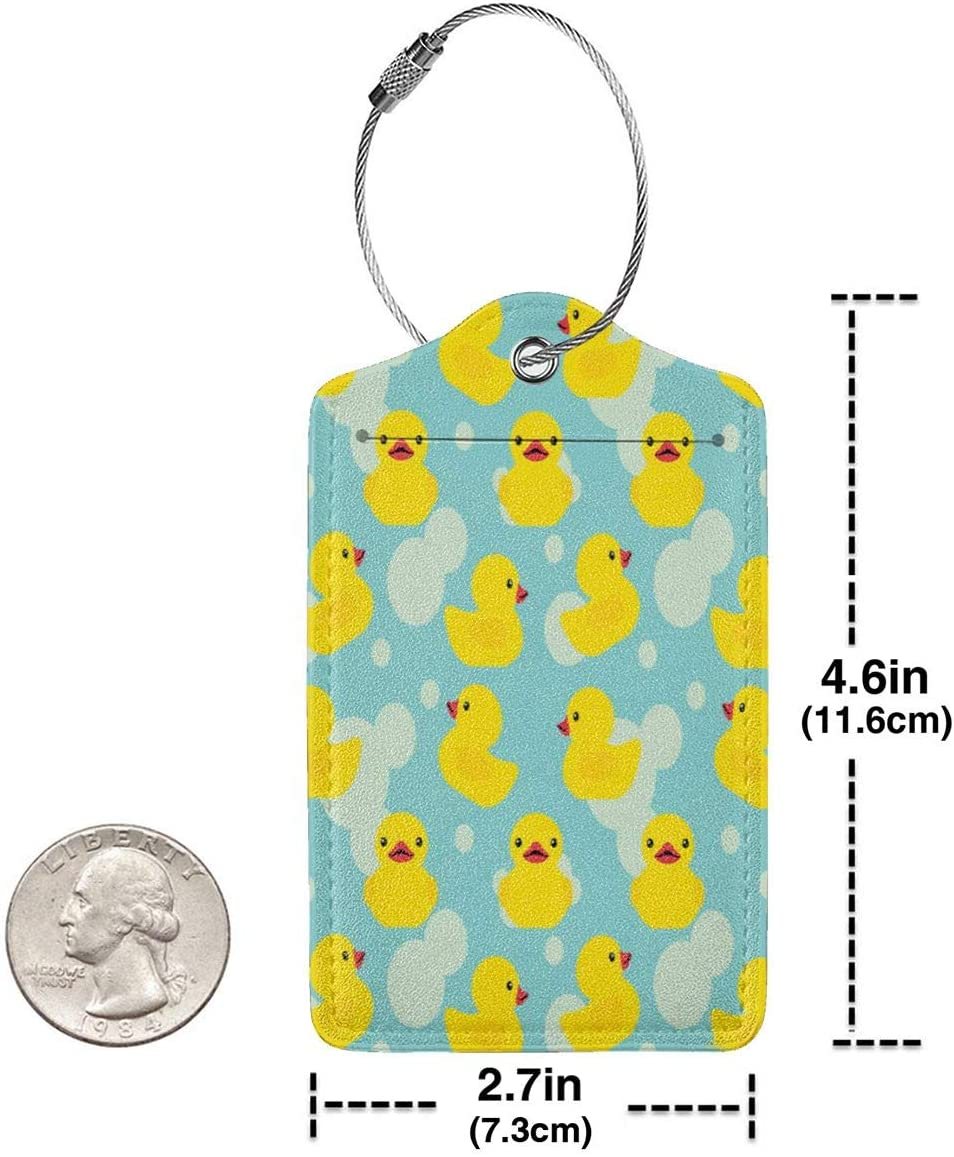 GoldK Rubber Ducky Leather Luggage Tags Baggage Bag Instrument Tag Travel Labels Accessories with Privacy Cover