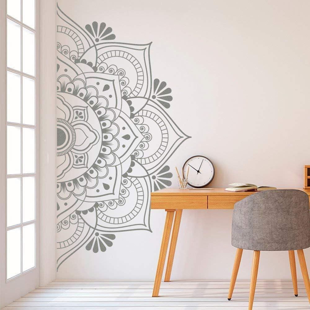 SLQUIET Maison Demi Mur Mandala D/écoration Amovible Vinyle Autocollant Yoga Mur Art Salon Chambre Murale Famille Jardin Mur Autocollant De Mode 01 blanc 57x29 cm