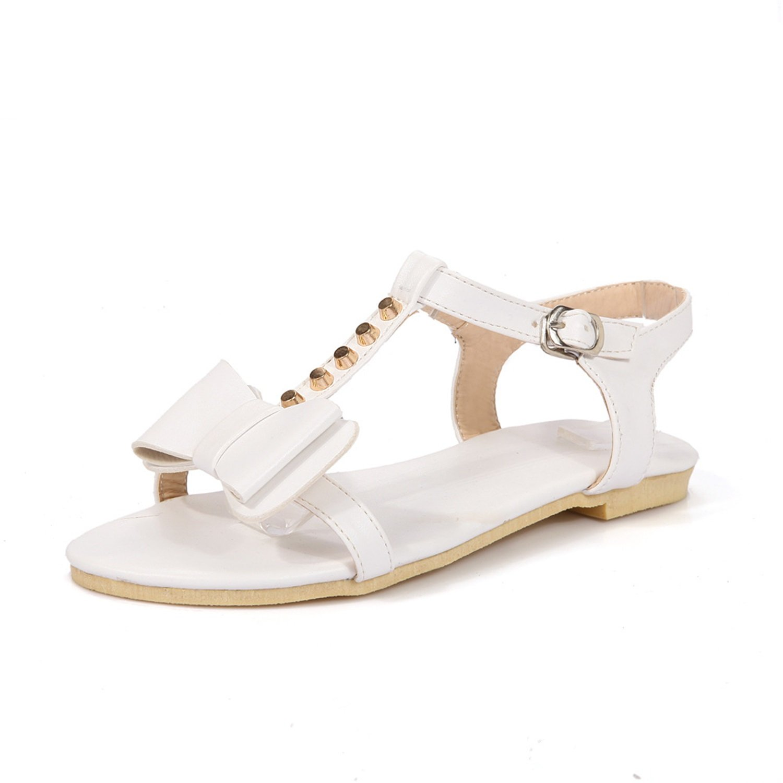 Damenschuhe Wildleder New Spring Summer Comfort Sandalen Flachboden Nieten Bowknot Schouml;ne Damen Schuhe Fuuml;r Casual  35 EU|Ein