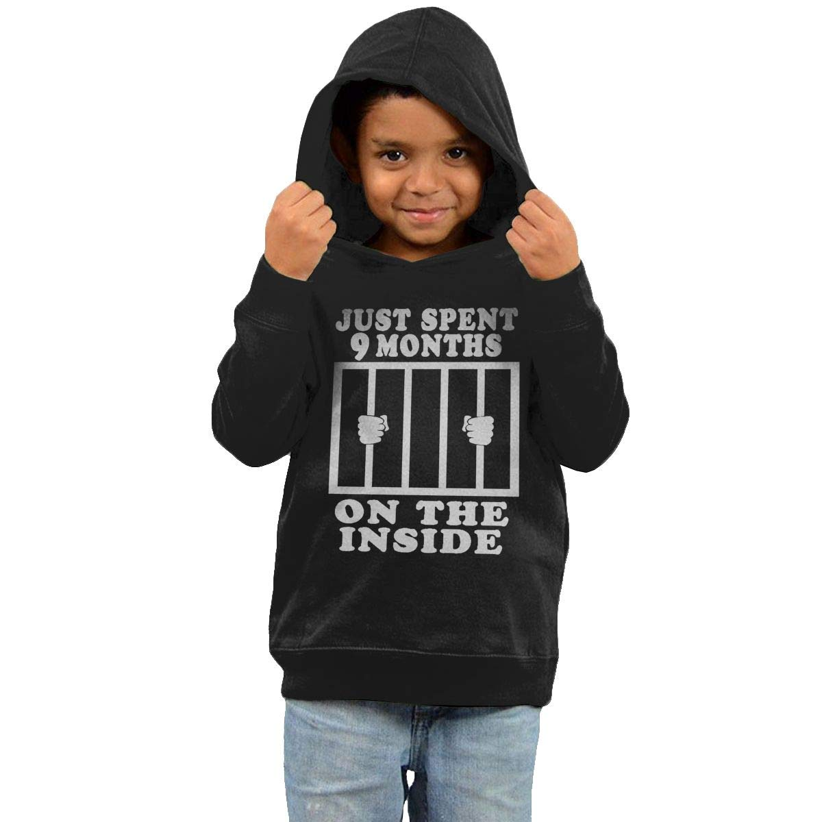 Childrens Hooded Sweater Just Spent 9 Months On The Inside Kids Sweater Black