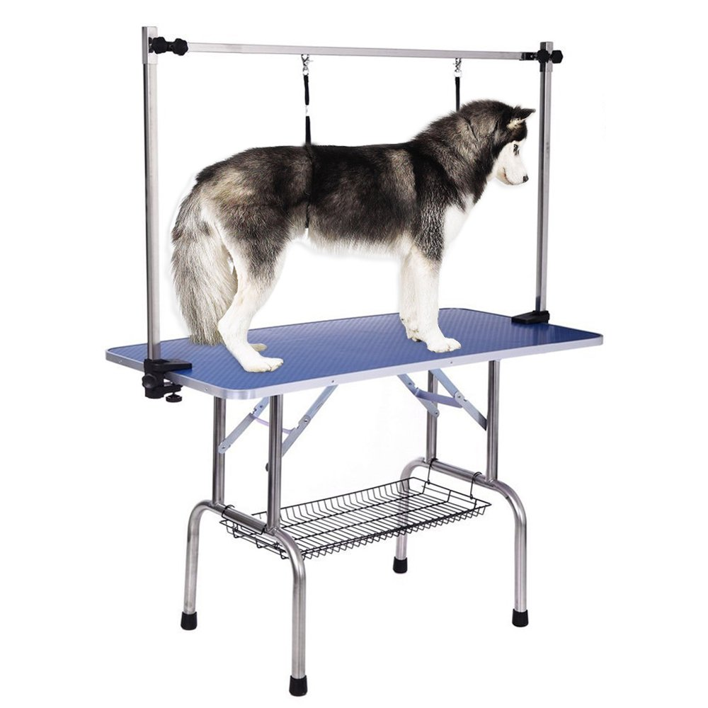 iKayaa Large Heavy-Duty Foldable Dog Grooming Table 36'' With Arm & Noose & Shelf for Pets