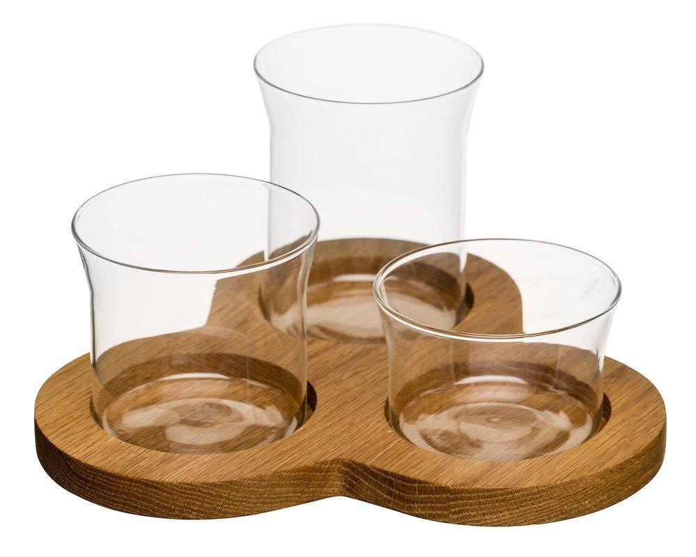 Sagaform Oak and Glass 4-Piece Serving Set