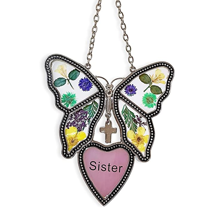 BANBERRY DESIGNS Sister Butterfly Suncatcher - Pressed Flowers Butterfly with Pink Sister Heart - Stained Glass Garden Sun Catcher- Sister Gift
