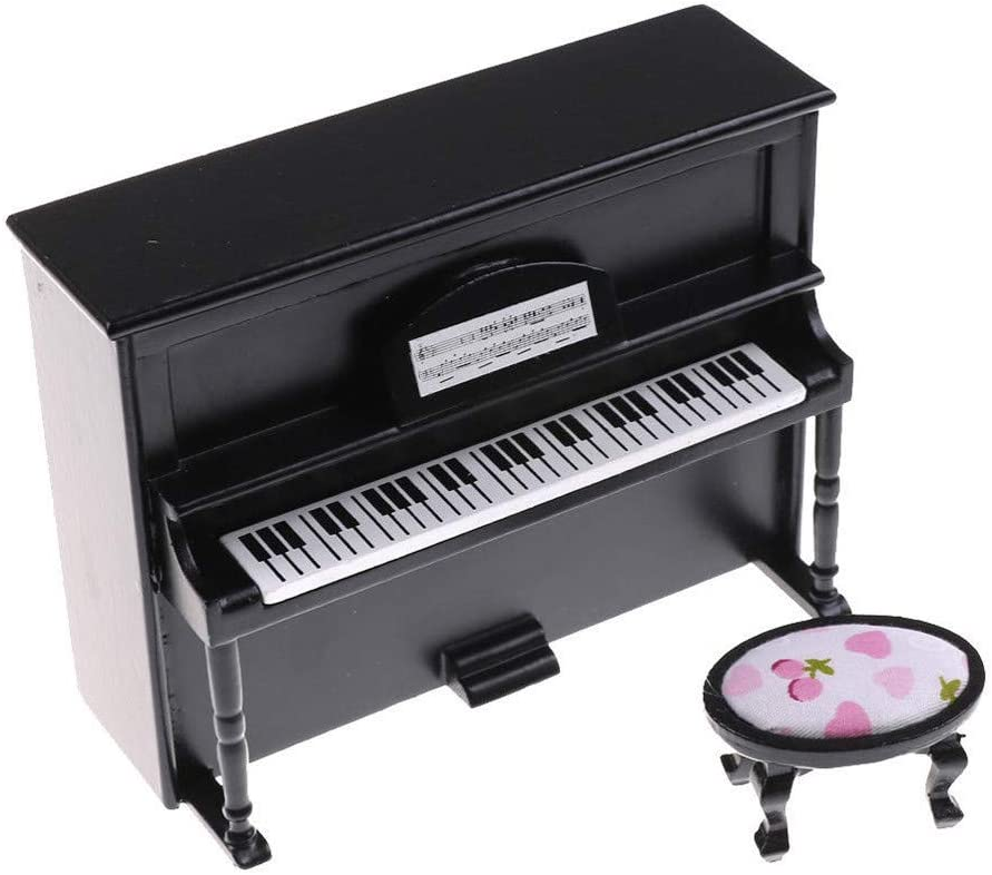 Bascar H/ölzernes Schwarzes Klavier Mini Doll Scale Modell f/ür 1//12 Dollhouse Miniature Miniatur Musikinstrument Klavier Modell Handwerk Wohnkultur Geschenke