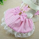 Cute Pet Puppy Vintage Plaid Pet Clothes Dog Lace Dress Ribbon Dog Vest Shirts Apparel Go4direction