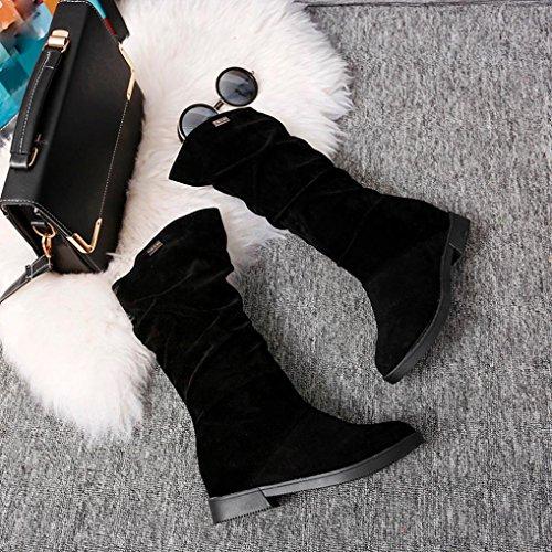 estilo Plano de LMMVP mujer Dulce Otoño Botas Zapatos de Casual Sólido Negro mujer nieve con Rebaño Botas para Señoras Botines invierno zHU8dq
