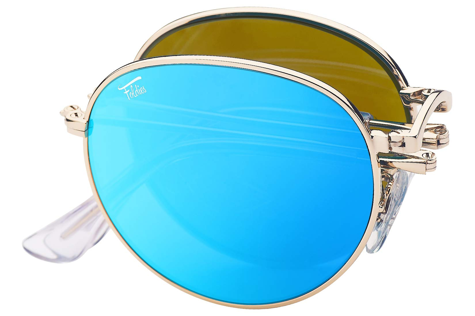 Foldies Gold Folding Round Sunglasses with Polarized Blue Mirrored Lenses by Foldies