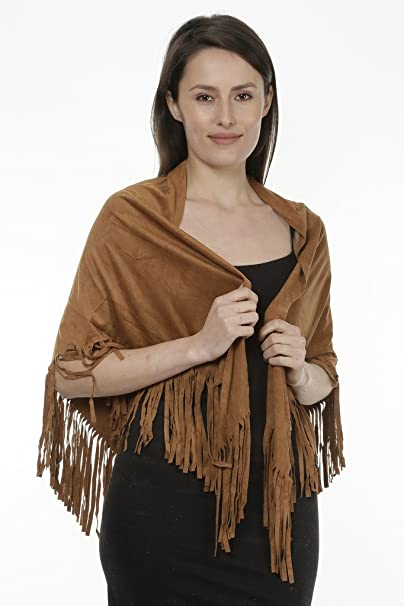 e331ac5be Faux Suede Fringed Cape Shawl Wrap Scarf, Large Triangle, Mother's Day  Gift, Birthday, Women's Accessory at Amazon Women's Clothing store:
