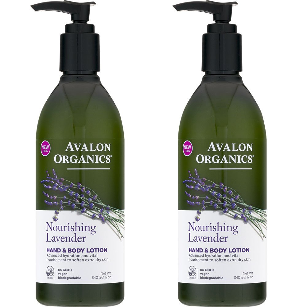 Avalon Organics Hand and Body Lotion Lavender With Organic Lavender Essential Oil, Organic Aloe, Vitamin E, Plant Lipids and the Rich Oat Nutrition of Beta-Glucan, 12 oz (340 g) (Pack of 2)