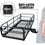 "OKLEAD Hitch Mount Cargo Carrier 60"" x 24"" x 14.4"" Folding Cargo Rack Rear Hitch Tray Luggage Basket with 500 LB…"