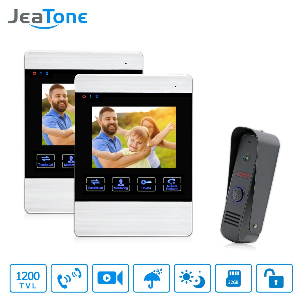 JeaTone 4 Inch Wired Video Doorbell Intercom Video Door Phone Pinehole Camera Night Vision Color Screen Monitor Unlocking Monitoring Security Camera System
