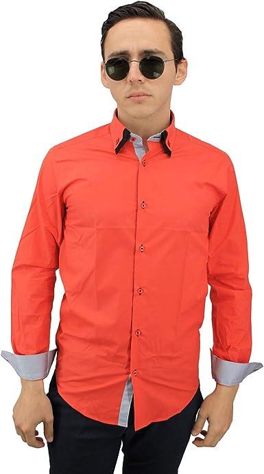 Meadrine - Camisa para Hombre, Color Rojo: Amazon.es: Ropa y accesorios