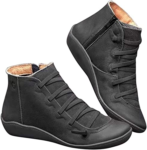 Side Zip Leather Ankle Boots Shoes
