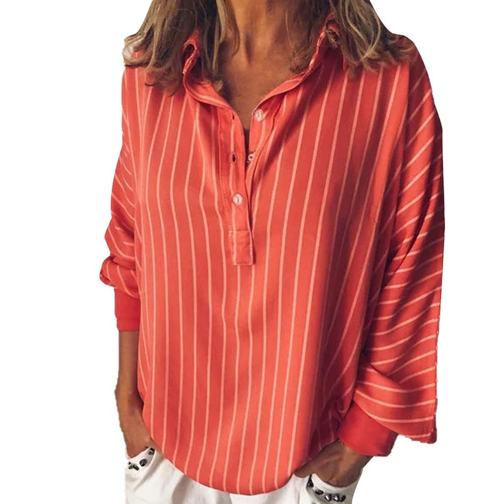SMALLE_Clothing Loose Shirts for Women,SMALLE◕‿◕ Women's Plus Size Tunic Tops Long Sleeve Stripe Button Up Henley Shirts Red