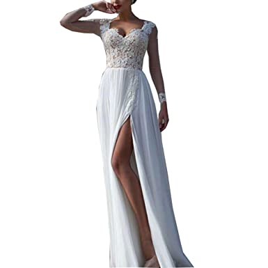 Thrsaeyi Womens Sleeves 2017 Lace Applique Wedding Dresses Chiffon Prom Dresses Split Skirt Bridal Gowns Ivory