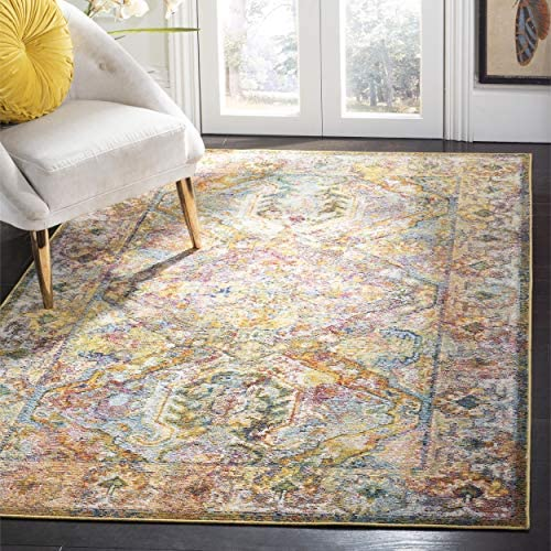Safavieh Crystal Collection CRS516A Light Blue and Orange Distressed Bohemian Area Rug 5' x 8'