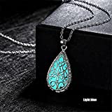 CHRWANG Multicoloured Water Drop Glow In The Dark Delicate Pendant Chain Shining Necklace Jewelry Light blue