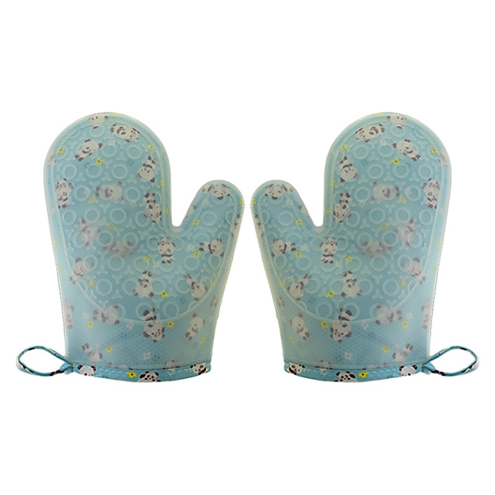 Set of 2 Oven Mitts Heat Resistant Silicone Oven Mitts Cute Panda Print Oven Gloves Waterproof Silicone Kitchen Mitts for Women Blue