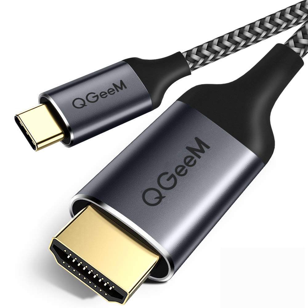 USB C to HDMI Cable,QGeeM 10ft Braided 4K@60Hz Cable Adapter(Thunderbolt 3 Compatible) Compatible with iPad Pro,MacBook Pro 2018 iMac,ChromeBook Pixel,Galaxy S9 Note9 S8 Surface Book HDMI USB-C(3M) by QGeeM