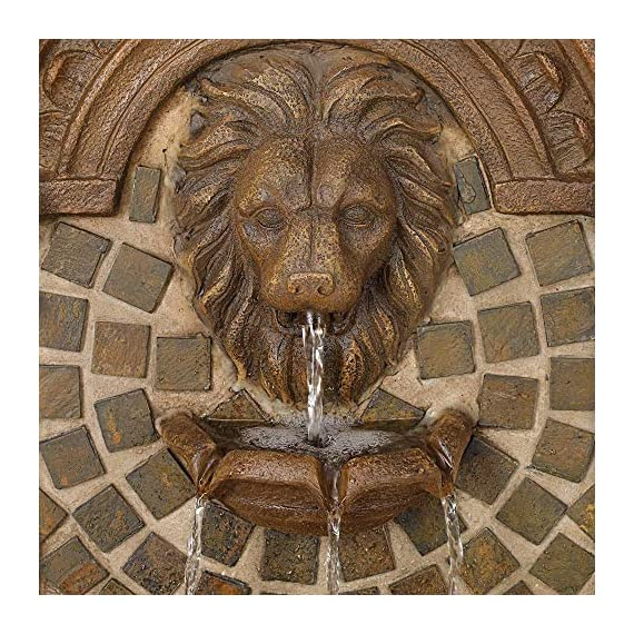 """Royal Lions Head Mediterranean Outdoor Wall Water Fountain with Light LED 51"""" High 3 Tiered for Yard Garden Patio Deck Home - John Timberland - 51"""" high x 23 1/2"""" wide x 15 1/2"""" deep. Bottom of base is 16"""" wide x 13"""" deep. Weighs 48 lbs. Lions head garden fountain. Designed to be set against a house or garden wall. By John Timberland. Light in the middle water basin lights the fountain at night. - patio, outdoor-decor, fountains - 61uRwgc9K4L. SS570  -"""