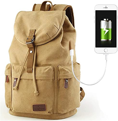 Beuniclo Canvas Backpack Travel Vintage Camping Rucksack Pack Casual Large Daypack Khaki-new